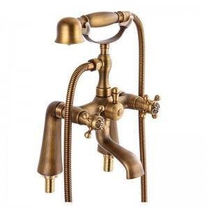 Badewannenarmaturen Antik Messing Material Badezimmer Dusche Set Badewanne montiert Mischbatterie Bad Wasserhahn Dual Halter Kran HJ-6053
