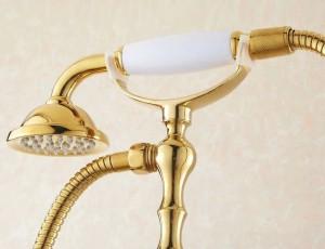Badewannenarmaturen Bad Gold Bodenständer Armaturen Telefontyp Badewanne Brausebatterie Messing Brausegarnitur Luxus Badewannenarmatur HJ-5028K