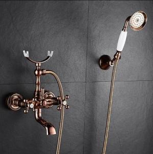 Badewannenarmaturen Messing Luxus Rose Gold Bad Dusche Wasserhahn Set Regen Doule Griff Duschsystem Wandmontage Wasserhahn XT360