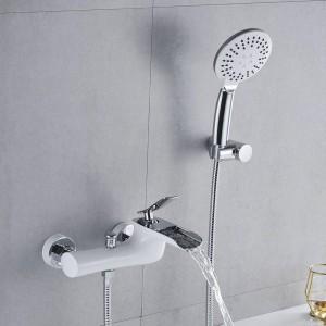 Badewannenarmaturen Chrom Bad Dusche Set Weiß Dusche Set Badewanne Mischbatterie Dual Contral Dusche Wandmontage Für Badezimmer LAD-6019