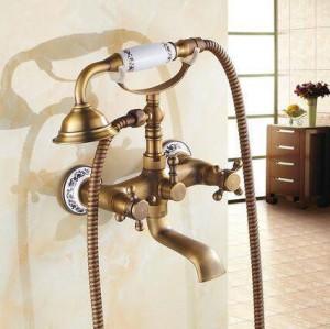 Badewannenarmaturen Wandmontage Antik Messing Gebürstet Badewannenarmatur Mit Handbrause Badezimmer Badewanne Duscharmaturen Torneiras XT354