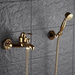 Badewannenarmaturen Wandmontage Gold / Chrom Duscharmaturen Für die Badewanne Massivem Messing Bad Dusche Ohne Mischbatterie XT361