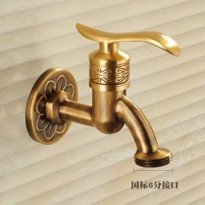 Bibcock Wasserhahn Art Deco Antike Bronze Messing Bad Mopp Wasserhahn Wand Waschmaschine Im Freien Garten Wasserhähne HJ-8665F