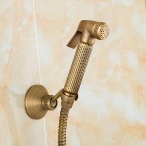 Bidet-Hahn-antiker fester Messingschlauch-Kalt- und Heißwasser-Duschmischer mit Bidet-Duschkopf-Doppelgriff-Hahn-Kran 9271F