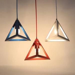 Led pendelleuchten moderne einfache macaron farben dreieck eisen kunst pendelleuchte foyer schlafzimmer kinderzimmer leuchte