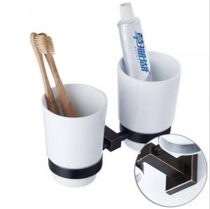 Schwarz Badezimmer Hardware Anhänger Kupfer Material schwarz Bronze Spülbecher Keramik Getränkehalter Doppelbecherhalter 9037K