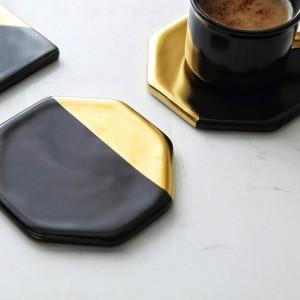 Schwarzer Marmorüberzug Gold Keramikuntersetzer Tasse Matten Pads Hauptdekorationen Küchenwerkzeuge Schreibtisch Rutschfeste Luxusmatte Europa Stil