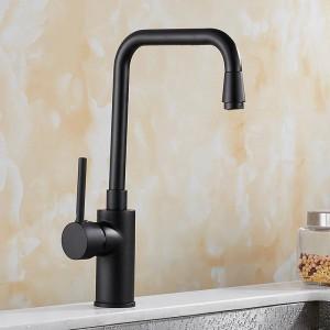 Schwarz Farbe Heiß Kalt Mischbatterie Küchenarmatur 360 Swivel Kitchen Sink Swivel Tap Messing Becken Wasserhahn Mischkran 8071A