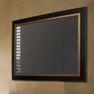 Badezimmerspiegel aus schwarzem Walnussholz mit quadratischem Wandbehang, Schminkspiegel, Wohnzimmerspiegel wx8221431