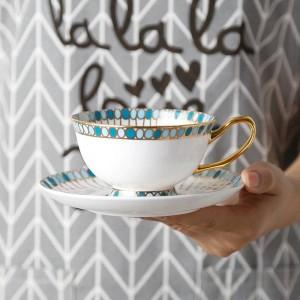Bone Kaffeetasse Handbemalte Edelsteinmuster Goldrand Europäische Tasse und Untertasse Englischer Tee Nachmittagstee Tassenset