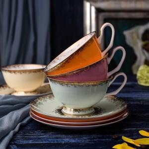 Bone Porcelain Tea Cups Set Hochwertige Keramik Tassen und Untertassen für Kaffee 200ML Drinkware Set