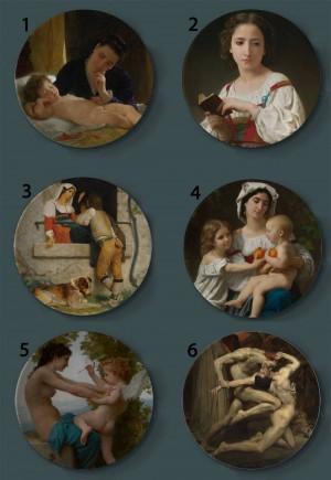 Bouguereau, der dekorative Platten-keramische künstlerische Hauptteller-Hotel-Hintergrund-Anzeigen-Mutter-und Kinderölgemälde-Platte malt