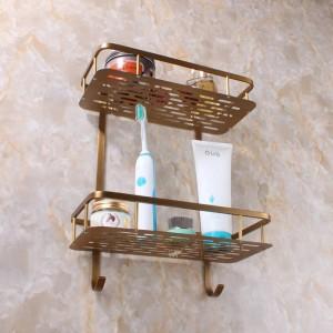 Messing Badezimmer Zubehör Küche und Bad Regal Dual Tier mit Haken Duschhalterung Korb 9102K