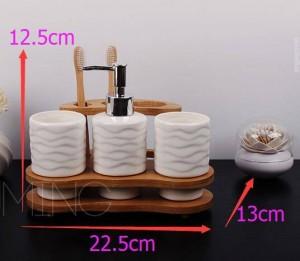 Kurze Keramik Badezimmer 4-teiliges Set Badezimmerzubehör Kit Dental Shukoubei Waschset Seifenschale Zahnbürstenhalter