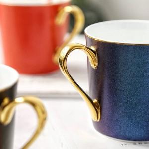 Helle Sterne Knochen Becher Goldrand Porzellan Kaffeetassen Frühstück Wasser Tasse Espresso Tee Party Tazas de Cafe Hause trinken