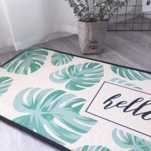 Teppiche Teppich Flanell rutschfeste Teppich Bape Teppich Nordic einfache Matten grüne Blätter lange Küche Schlafzimmer Bad Fußmatten Betten