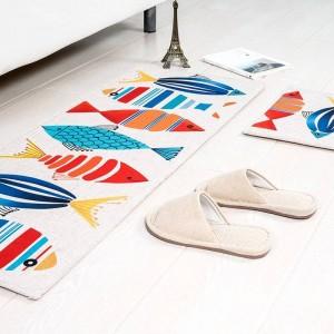 Cartoon-Muster Fisch MAT Quadrat Kissen Küche Tür Pad Bad Rutschfeste Staub entfernen Fußmatten Tisch Teppich Bettwäsche Kitty Teppiche
