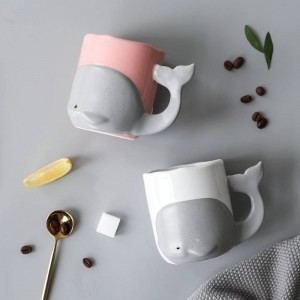 Karikatur-Wal-kreative Keramik-Becher-Kaffeetasse-Büro-Becher-Milchglas