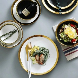 Keramik-Rindfleischplatte Haushalts-Frühstücksteller Einfache und kreative europäische Gemüseplatte mit Goldrand-Geschirr