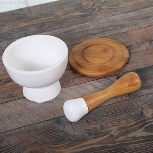 Keramik Mahlbecher Knoblauchschale Peeling Knoblauch Lebensmittel Gemüsemühle Bambusstock Pulver Gewürzmühle Getreidemühle