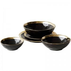 Keramikplatte Schwarzvergoldetes Geschirr Home Kitchen Ceramic Bowl Gold Plate