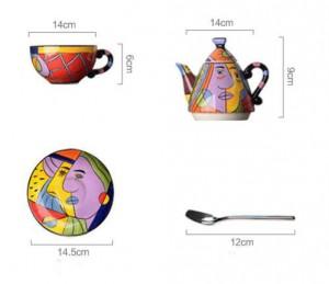 Keramische Teekanne drinkware stellt Tasse und Untertassekaffee-Teesätze Handmalereikunstdesigngeschirrteekanne ein