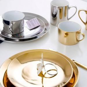 Keramikschale Ablageschale Stil Gold Versilberung Dessertschale Obstteller Kaffeetasse