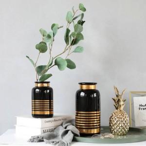 Keramikvase Europäischen Stil Einfache Weiß Schwarz Gold Luxus Blumendekoration Dekoration
