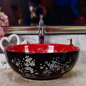 Keramik Waschbecken Pflaumenblüte Schwarzes Porzellan Classic Art Waschbecken aus Keramik