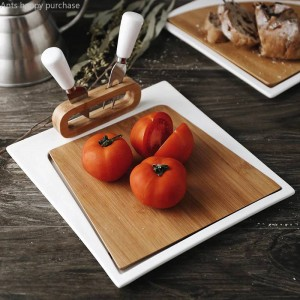 Keramik mit Messer-und Gabel-Steak-Teller-Westlebensmittel-Schnitt-Frucht-Brotschneidebrett-Platten-Pizza-Frühstücks-Schneidebrett kreativ