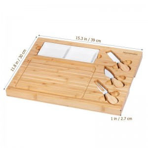 Käsebrett mit Besteck Keramik Teller Set Charcuterie Platte Serviertablett aus Holz Server für Wein Cracker Brie und Fleisch