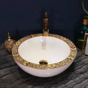 Künstlerische handgemachte Keramik Waschbecken Lavobo Runde Aufsatzwaschbecken Bad Waschbecken Schalen weiße Farbe Breitseite Gold