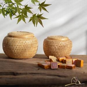 Kunsthandwerk Handgefertigte Bambus-Teedosen Essensaufbewahrungskorb Persönlichkeit Teekanister Obstkorb Trockenobstbox Tee-Zubehör