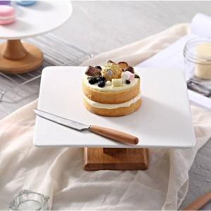 Teller High Stand Kuchenteller Creative Food Serviertabletts Multi-Use Naural Holz DIY Tortenständer Hochzeit Dessert-Display stehen
