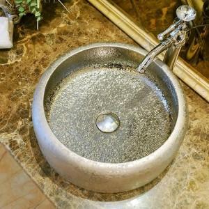 Vintage Style Keramik Kunst Waschbecken Waschbecken Aufsatz Waschbecken Keramik Handwaschbecken Waschbecken Silber