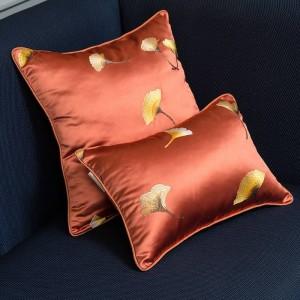 Imitation Silk Kissenbezug Stickerei Blatt Luxus Kissenbezug Kissen Weihnachten Cojines Decorativos Para Sofa