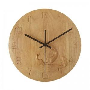 Massivholz kreative Wanduhr Handgeschnitzte Karpfen Schlafzimmer Holz Wanduhr Stumm Wohnzimmer Studie Uhren