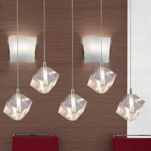 Klar 5 Stück G4 LED Pendelleuchten für Esszimmer Restaurant große klare Kristall Lichter Küche Bar Licht Glas Glanz Pendente