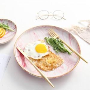 Keramik-Frühstückstablett mit fantastischem rosa Marmormuster von InsFashion mit Goldrand für ein romantisches Restaurant im Bohème-Stil