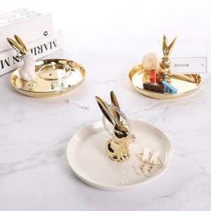 InsFashion super luxus runde kaninchen keramik schmuckschale für freundin und hochzeitsfeier mitnehmen geschenk-sets