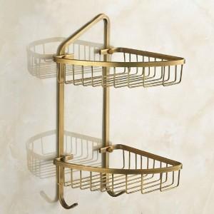 Kupfernes antikes Art- und Weisedoppelschicht-Badezimmer-Doppelschicht-Korb-Regal