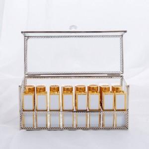 Kosmetische Lippenstift Aufbewahrungsbox Gold Desktop Box Aufbewahrungsbox Staubdichter Spiegel Transparente kosmetische Aufbewahrungsbox