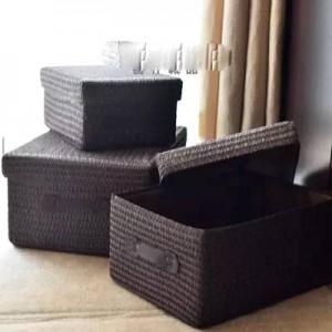 Covered Aufbewahrungsbox Verdickung Imitation Gras gewebt Ablagekorb Desktop-Kleidung Aufbewahrungsbox große Schublade