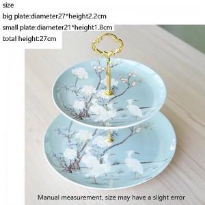 Crane Pattern Ceramic Fine Bone Doppelschicht Obstteller Hausgarten Dessert Pastry Dish Hochzeitstorte Große Untertasse