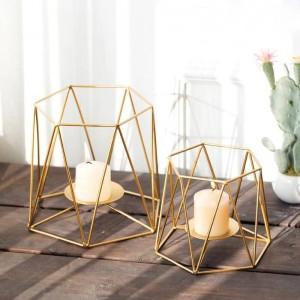 Kreative Kerzenhalter Ins Gold Farbe Geometrische Metall Eisen Kunst Kerzenhalter Romantisches Kerzenlicht Abendessen Nachtlicht Dekoration