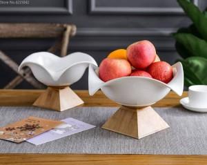 Kreative Keramik Obstschale große Obstschale Nordic Haushalt moderne Wohnzimmer Snacks Ablagekorb Bambus Basis Keramikplatte