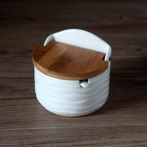 Kreative Keramik Gewürzdosen mit Löffel Bambusabdeckung Runde Salz Küche Gewürzwerkzeuge Pfefferstreuer Aufbewahrungsbox mit Tablett