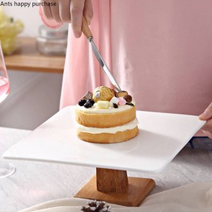 Kreative europäische Artkeramik Kuchenform Hoher Fußdessertbrot-Fruchtteller Nachtischtabelle Ausstellungsstand Versuchen Sie das Behälterquadrat