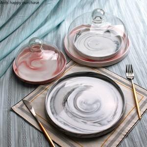 Kreative europäische Artkeramik Marmor-Fruchtbehälter mit Deckel Kuchenteller Glasabdeckung Nachtischtabellen-Ausstellungsstandbehälter