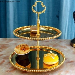 Kreative europäischen Stil Doppelschicht Obsttablett Wohnzimmer Küche Tortenständer Zucker Trockenfrüchte Platte Nachmittagstee Snack Tablett